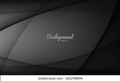 Black abstract vector background Design concept Modern geometric shapes with curves