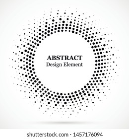 Black abstract vector circle frame halftone dots design element.Halftone effect vector pattern for your design. Circle dots isolated on the white background for advertisement.