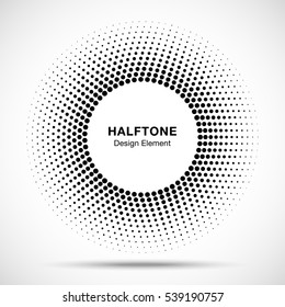 Black abstract vector circle frame halftone dots logo emblem design element for medical, treatment, cosmetic. Round border Icon using halftone circle dots raster texture.