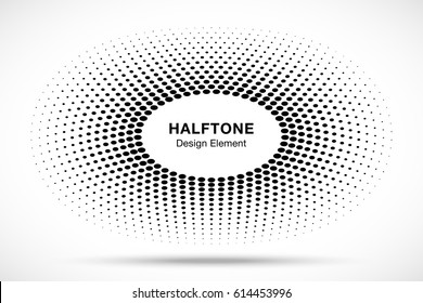 Black abstract vector oval frame halftone dots logo emblem design element. Ellipse border Icon using halftone circle dots raster texture.