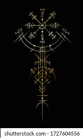 Black abstract viking magic symbols isolated on white background