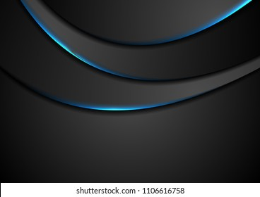Black abstract wavy background with blue neon glow light. Vector design