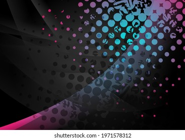 Black abstract wavy background with blue pink grunge halftone dots. Vector retro design