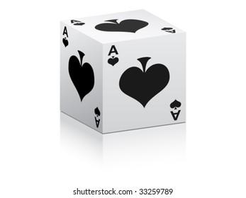 black ace on box vector illustration