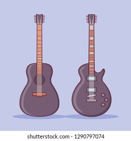 Black acoustic and electric guitars on purple background. Flat line icon. Vector illustration.