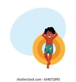 Black, African American boy, teenager swimming on floating inflatable ring, top view cartoon vector illustration with space for text.