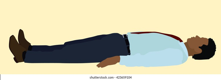 Black or African American Business man Lying on his Back