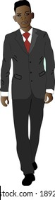 Black African American businessman in black business suit. The young guy walks forward.