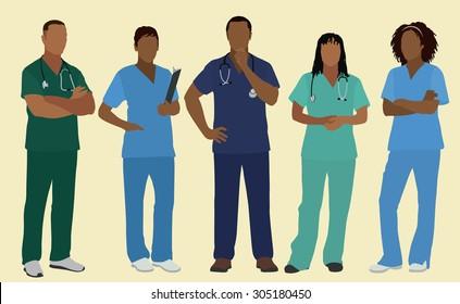 Black or African American Doctors, Nurses or Surgeons in Scrubs.