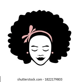 Black African American girl woman beautiful lady head face vector silhouette drawing illustration with curly hair and pink ribbon bow isolated on white background.Logo.