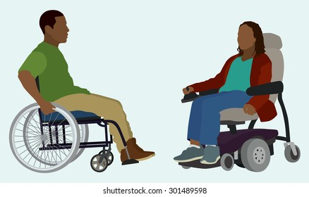 Black or African American Man and Woman in Wheelchair