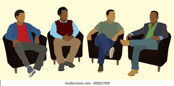 Black or African American Men Socializing in Group Therapy