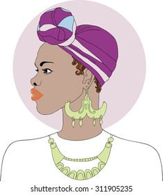 Black African American woman with earrings and necklace. Vector