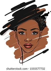 Black African American Woman Portrait Sketch