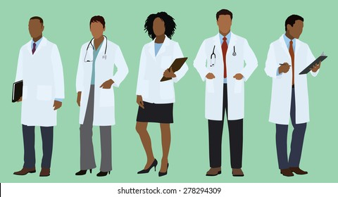 Black or African Doctors Wearing Lab Coats