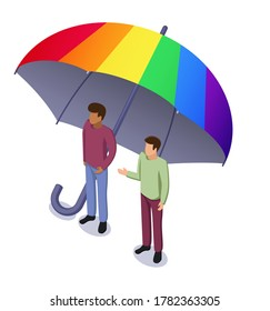 Black african man and white caucasian man under rainbow umbrella. Tolerance, lgbt and no racism concept, friendship and peace protection. Vector isometric illustration