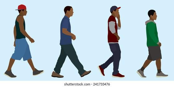 Black or African Teen Boys Walking (Side View)