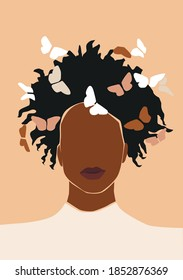 Black afro abstract woman face. Vector girl portrait.