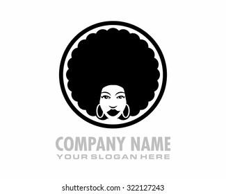 black afro woman hair style retro vintage cartoon character logo image icon