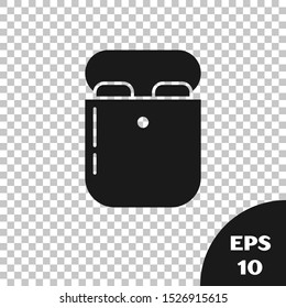 Black Air headphones in box icon icon isolated on transparent background. Holder wireless in case earphones garniture electronic gadget.  Vector Illustration