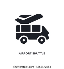 black airport shuttle isolated vector icon. simple element illustration from transportation concept vector icons. airport shuttle editable logo symbol design on white background. can be use for web