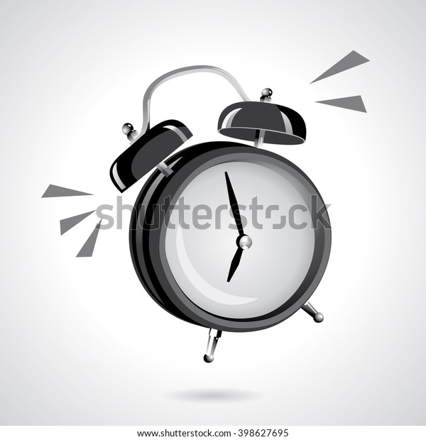 Black Alarm Clock Vintage Sound Awake Stock Vector (Royalty