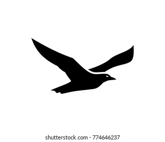 Black Albatross Flying Bird Illustration Logo Silhouette