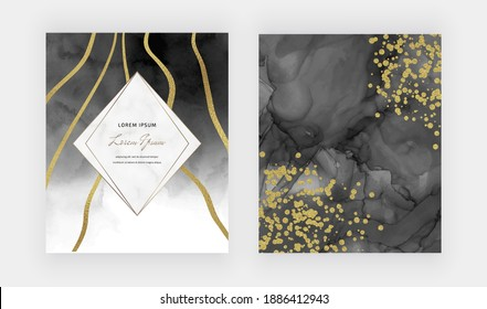 Black alcohol ink texture with golden confetti, lines and marble frame