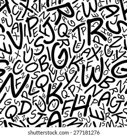 Black alphabet letters seamless pattern in a cartooned font for education, library or another background design