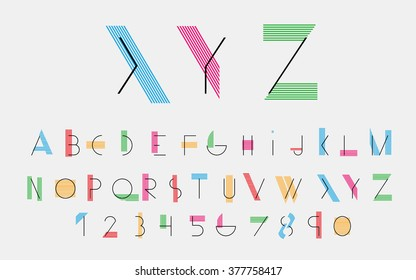 Black alphabetic fonts with color lines. Vector eps10 illustrator.