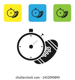 Black American Football ball and stopwatch icon isolated on white background. Set of sport equipment. Set icons colorful square buttons. Vector Illustration