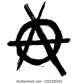 Black anarchy sign. Vector illustration. Hand drawn symbol. Isolated on white background. Grunge style. Punk movement.