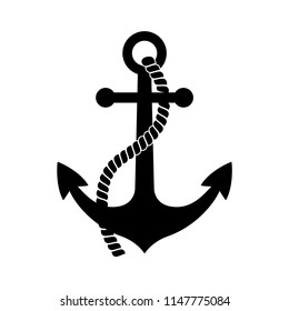 Black anchor icon on white background