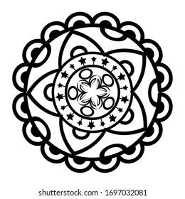 Black andala design of Bohemic ornament indian decoration retro vintage meditation henna ethnic arabic texture and tribal theme Vector illustration