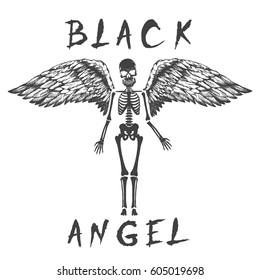 black angel like a skeleton.Prints design fort-shirt