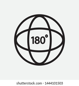 Black angle 180 degree icon on gray background. Vector Illustration