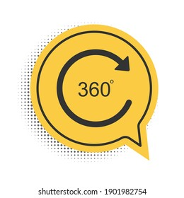 Black Angle 360 degrees icon isolated on white background. Rotation of 360 degrees. Geometry math symbol. Full rotation. Yellow speech bubble symbol. Vector.
