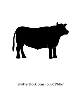 Black angus beef bull standing vector silhouette. Ox neat illustration.