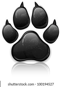 Black animal paw print isolated on white, vector illustration