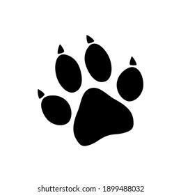 Black animal paw print isolated on white background. Vector illustration