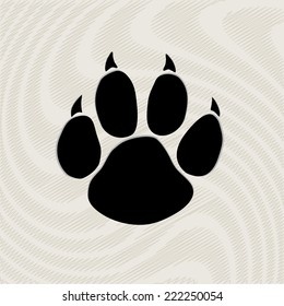 Black animal paw print isolated on pattern, vector illustration