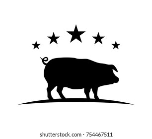 Black Animal Pig with 5 Stars Illustration Logo Silhouette