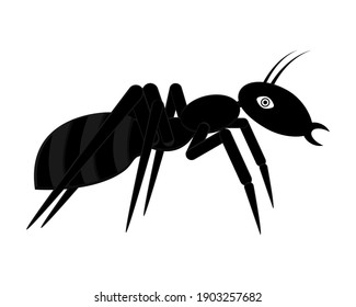 Black ant clipart. Vector illustration, logo design and icon. Silhouette in cartoon style. Side view.