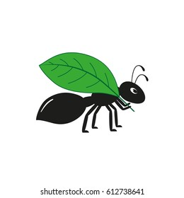 Black ant with a leaf on a white background. Flat vector illustration