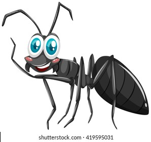 Black ant with smiling face illustration