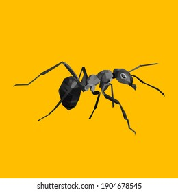 Black ant with yellow background in vektor illustration. Eps file