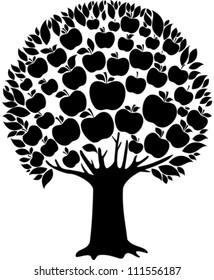 Black apple tree isolated on White background. Vector illustration