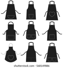 black apron set isolated on white
