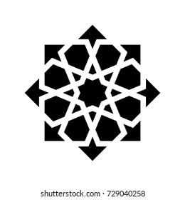 Black arabesque ornament isolated on white background. Vector illustration