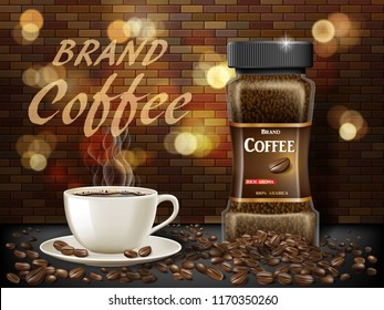 Black Arabica coffee cup with beans ads. 3d illustration of hot coffee mug. Product retro design with bokeh and brick background. Vector